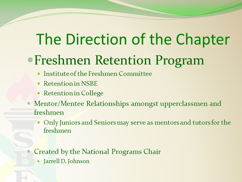 The Direction of the Chapter Freshmen Retention Program Institute of the Freshmen Committee Retention in NSBE Retention in College Mentor/Mentee Relationships amongst upperclassmen and freshmen Only Juniors and Seniors may serve as mentors and tutors for the freshmen Created by the National Programs Chair Jarrell D.