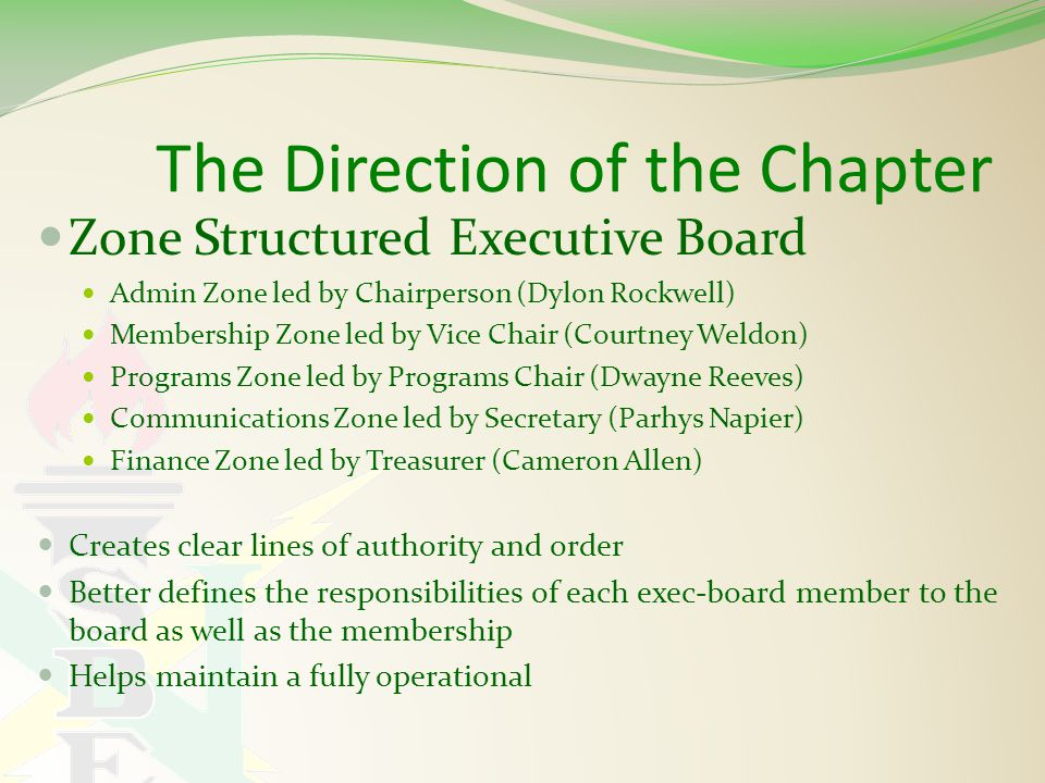 The Direction of the Chapter Zone Structured Executive Board Admin Zone led by Chairperson (Dylon Rockwell) Membership Zone led by Vice Chair (Courtney Weldon) Programs Zone led by Programs Chair (Dwayne Reeves) Communications Zone led by Secretary (Parhys Napier) Finance Zone led by Treasurer (Cameron Allen) Creates clear lines of authority and order Better defines the responsibilities of each exec-board member to the board as well as the membership Helps maintain a fully operational