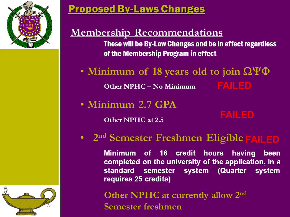 © Membership Recommendations These will be By-Law Changes and be in effect regardless of the Membership Program in effect Minimum of 18 years old to join  Other NPHC – No Minimum Minimum 2.7 GPA Other NPHC at 2.5 2 nd Semester Freshmen Eligible Minimum of 16 credit hours having been completed on the university of the application, in a standard semester system (Quarter system requires 25 credits) Other NPHC at currently allow 2 nd Semester freshmen Proposed By-Laws Changes FAILED