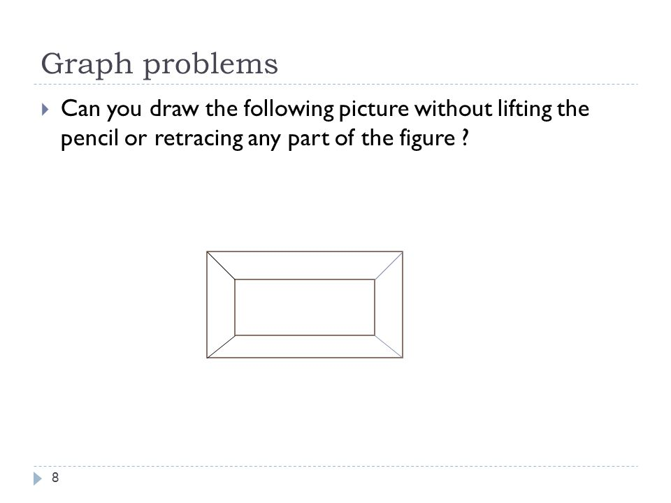 Graph problems 8  Can you draw the following picture without lifting the pencil or retracing any part of the figure