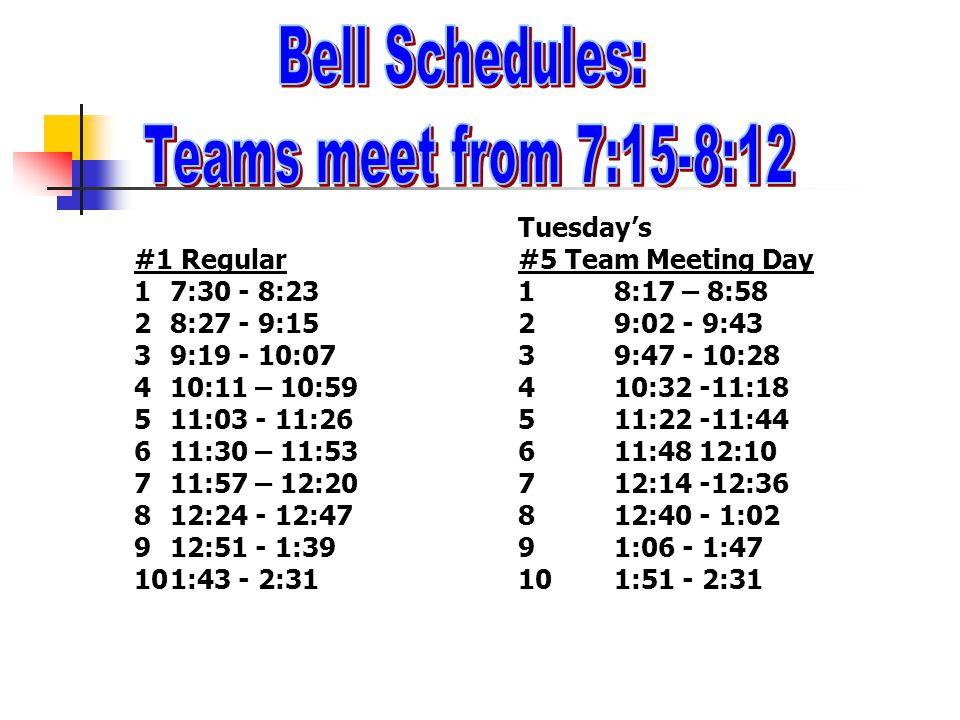 Tuesday's #1 Regular#5 Team Meeting Day 17:30 - 8:2318:17 – 8:58 28:27 - 9:1529:02 - 9:43 39:19 - 10:0739:47 - 10:28 410:11 – 10:59410:32 -11:18 511:0