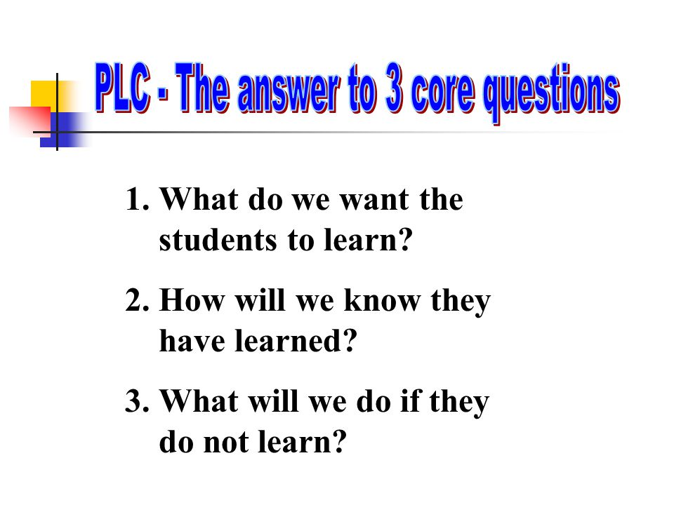 1.What do we want the students to learn? 2.How will we know they have learned? 3.What will we do if they do not learn?