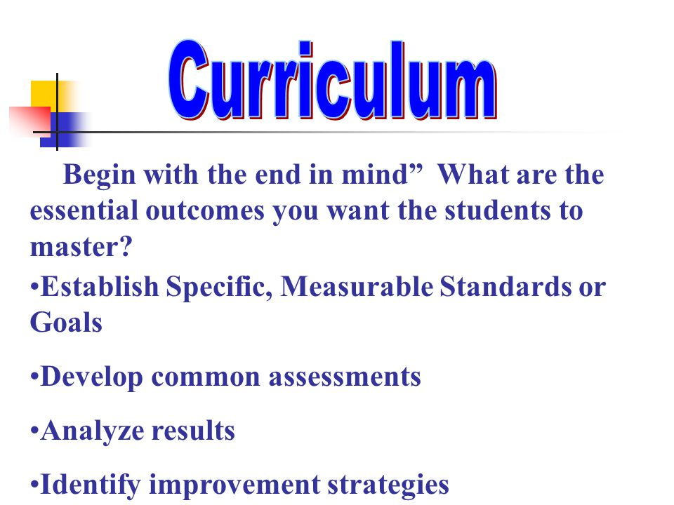 """"""" Begin with the end in mind"""" What are the essential outcomes you want the students to master? Establish Specific, Measurable Standards or Goals Devel"""