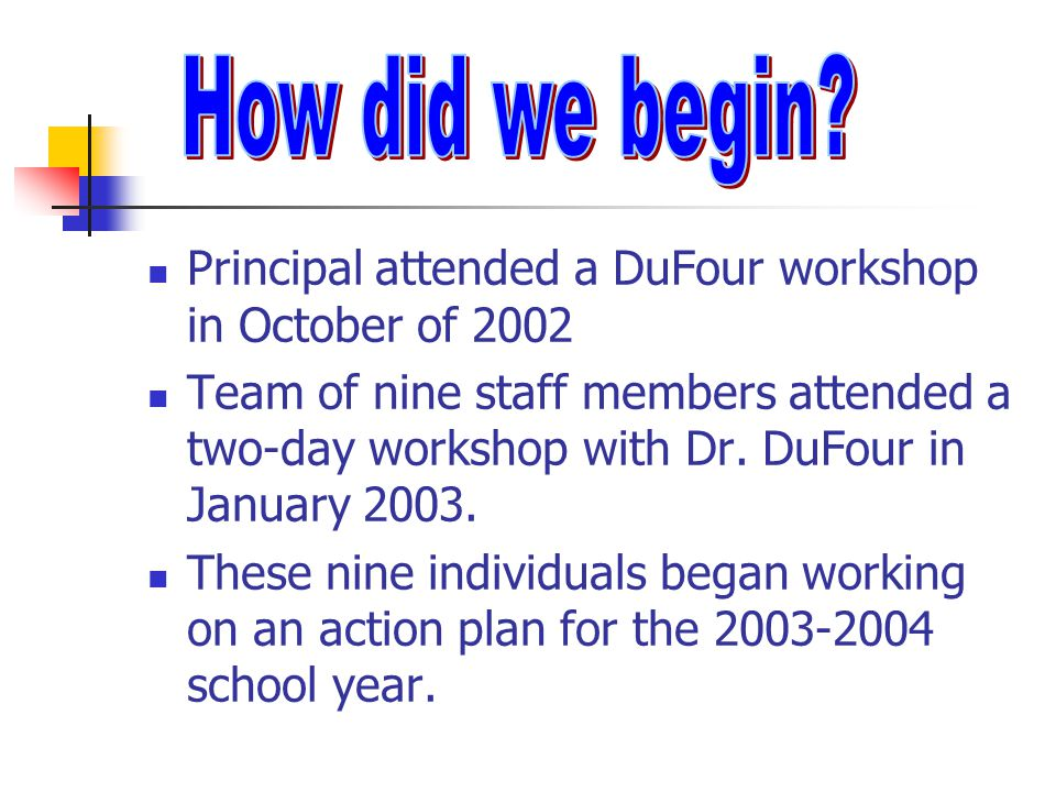 Principal attended a DuFour workshop in October of 2002 Team of nine staff members attended a two-day workshop with Dr. DuFour in January 2003. These