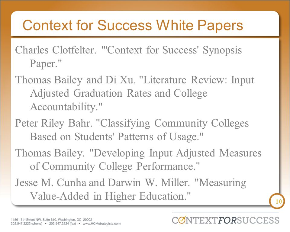 10 Context for Success White Papers Charles Clotfelter.