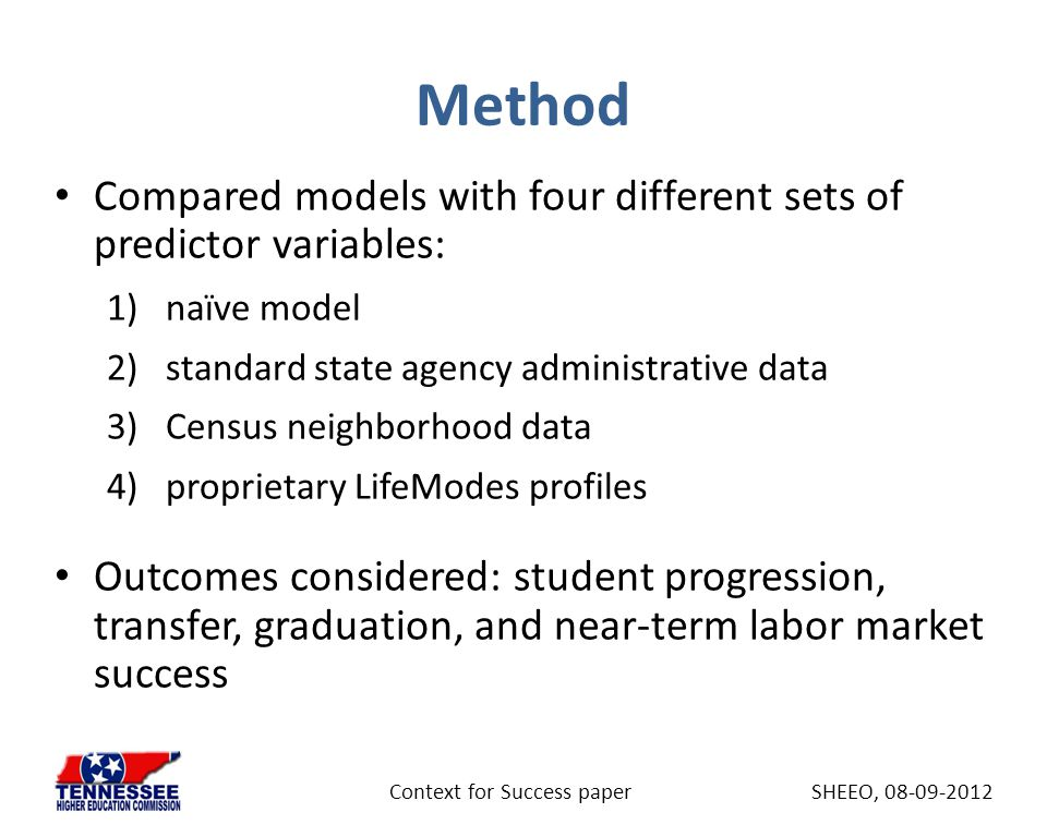 Method Compared models with four different sets of predictor variables: 1)naïve model 2)standard state agency administrative data 3)Census neighborhoo