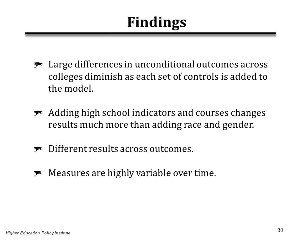 30 Findings  Large differences in unconditional outcomes across colleges diminish as each set of controls is added to the model.  Adding high school