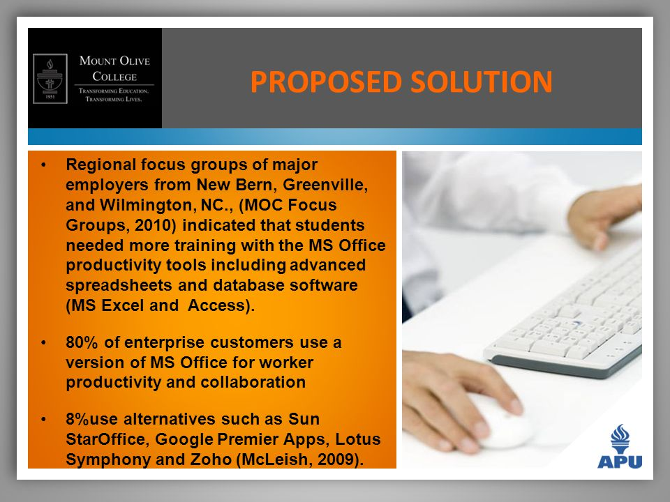 PROPOSED SOLUTION Regional focus groups of major employers from New Bern, Greenville, and Wilmington, NC., (MOC Focus Groups, 2010) indicated that students needed more training with the MS Office productivity tools including advanced spreadsheets and database software (MS Excel and Access).