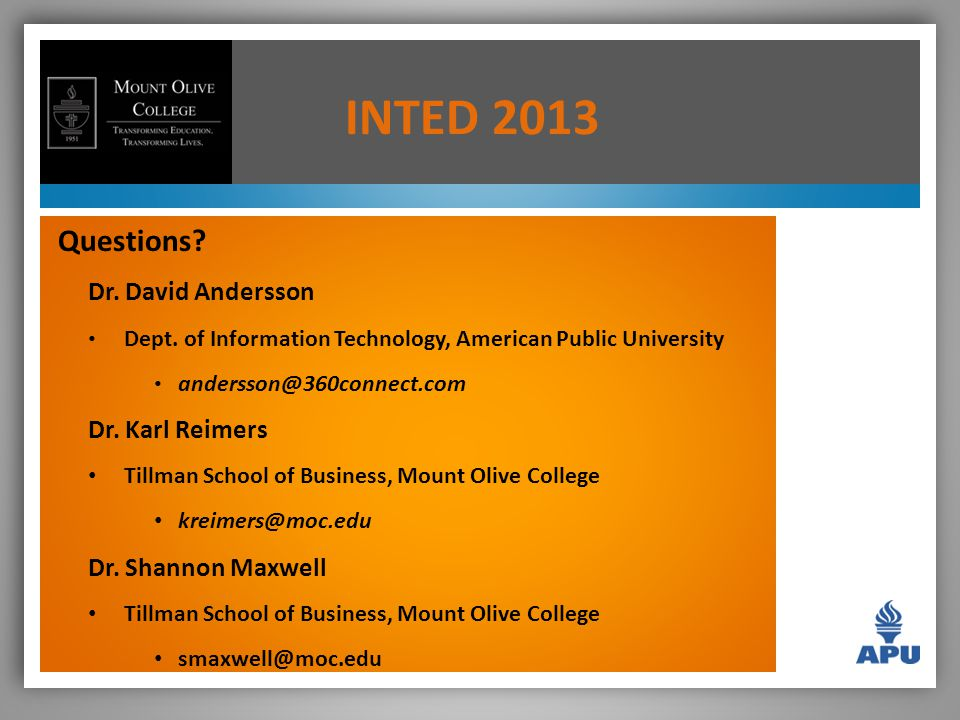 INTED 2013 Questions. Dr. David Andersson Dept.