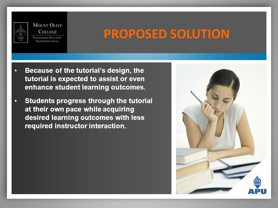 Because of the tutorial's design, the tutorial is expected to assist or even enhance student learning outcomes.