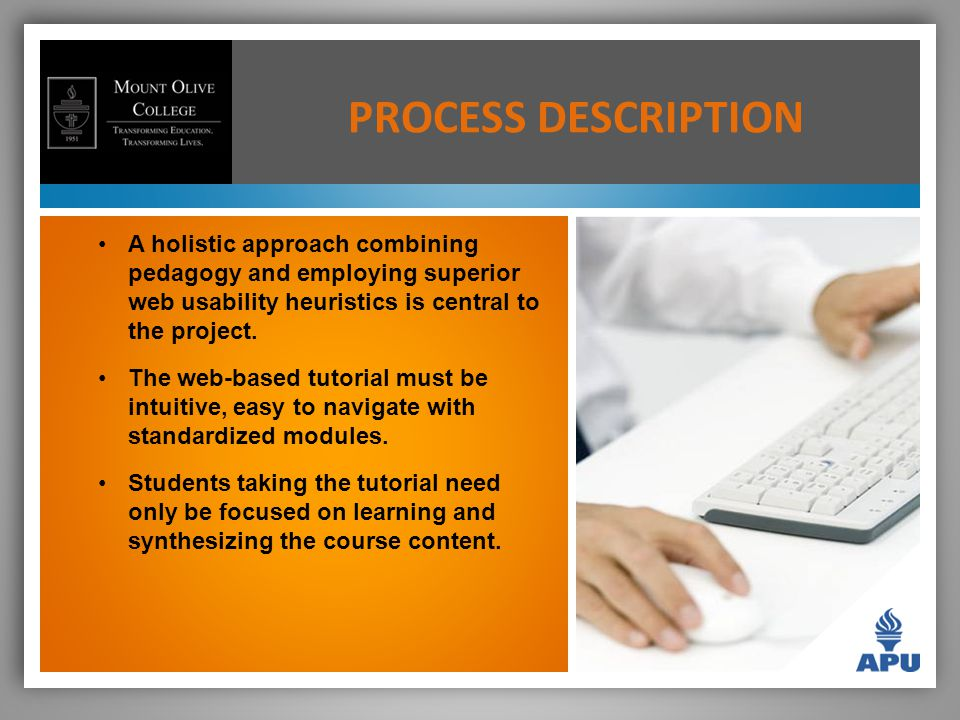 A holistic approach combining pedagogy and employing superior web usability heuristics is central to the project.
