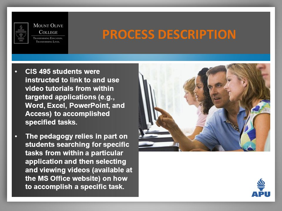 CIS 495 students were instructed to link to and use video tutorials from within targeted applications (e.g., Word, Excel, PowerPoint, and Access) to accomplished specified tasks.