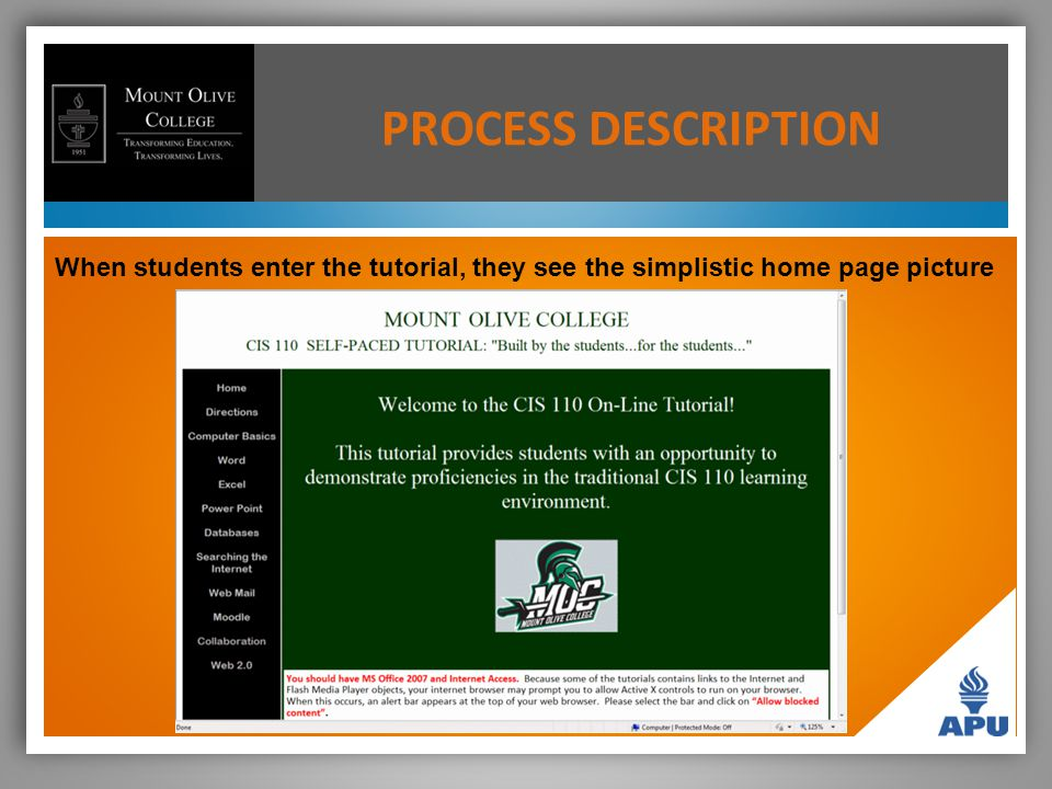 When students enter the tutorial, they see the simplistic home page picture PROCESS DESCRIPTION