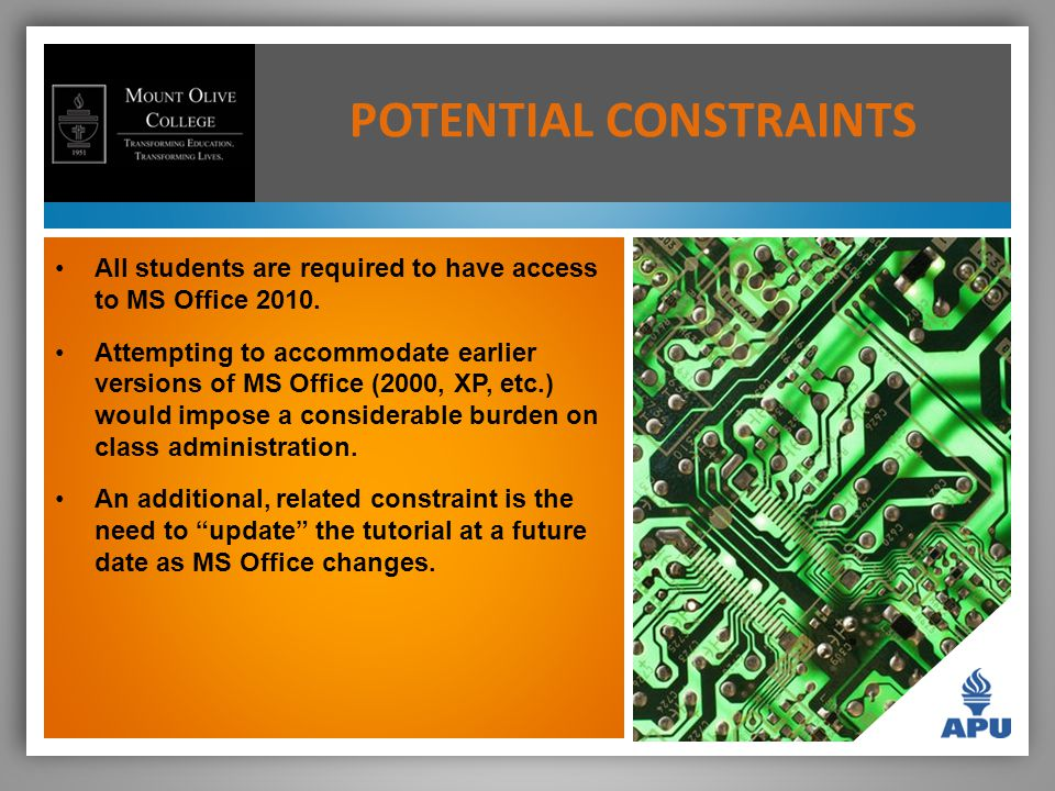 POTENTIAL CONSTRAINTS All students are required to have access to MS Office 2010.