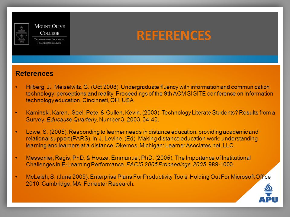 REFERENCES References Hilberg, J., Meiselwitz, G. (Oct 2008).