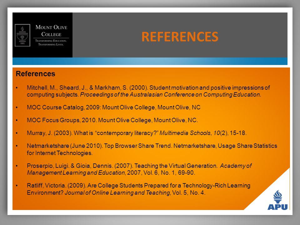 REFERENCES References Mitchell, M., Sheard, J., & Markham, S.
