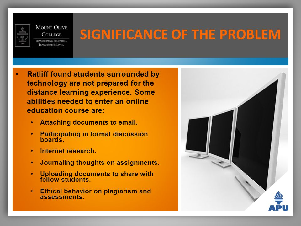 SIGNIFICANCE OF THE PROBLEM Ratliff found students surrounded by technology are not prepared for the distance learning experience.