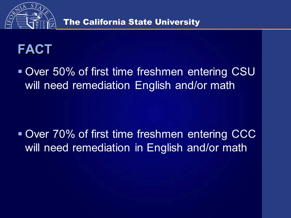 FACTFACT  Over 50% of first time freshmen entering CSU will need remediation English and/or math  Over 70% of first time freshmen entering CCC will need remediation in English and/or math