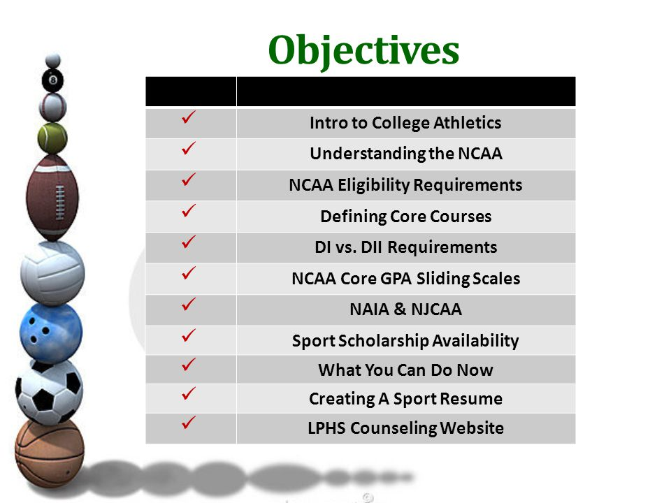 Objectives Intro to College Athletics Understanding the NCAA NCAA Eligibility Requirements Defining Core Courses DI vs.