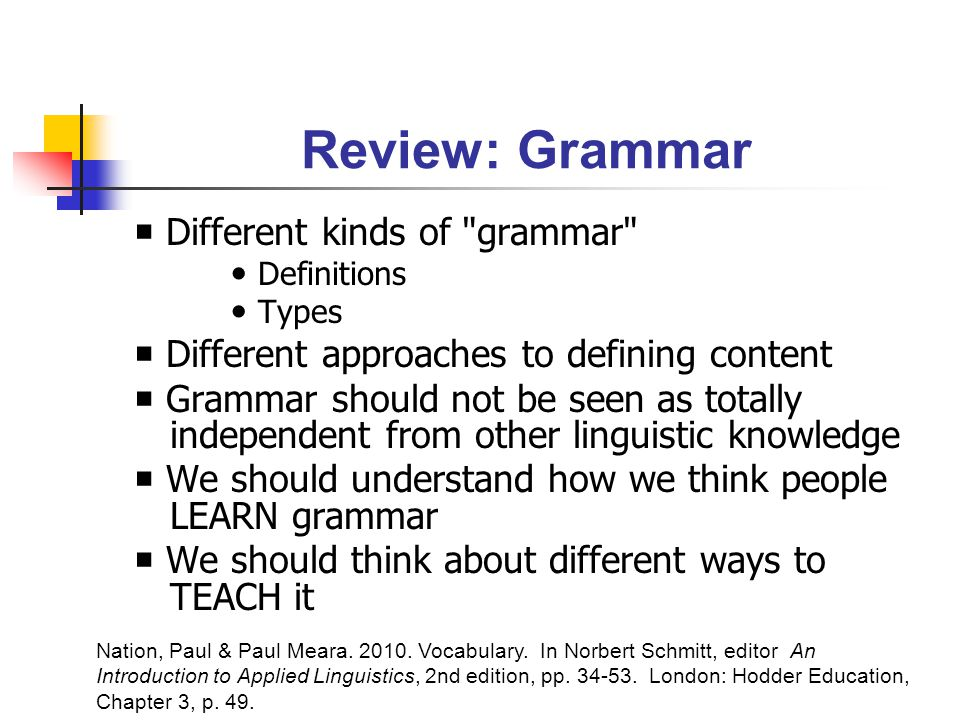 Review: Grammar  Different kinds of grammar Definitions Types  Different approaches to defining content  Grammar should not be seen as totally independent from other linguistic knowledge  We should understand how we think people LEARN grammar  We should think about different ways to TEACH it Nation, Paul & Paul Meara.