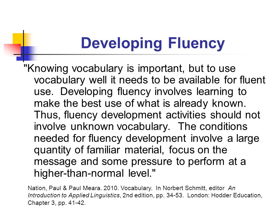 Developing Fluency Knowing vocabulary is important, but to use vocabulary well it needs to be available for fluent use.