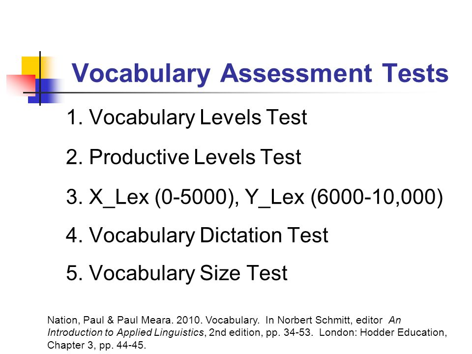 Vocabulary Assessment Tests 1. Vocabulary Levels Test 2.