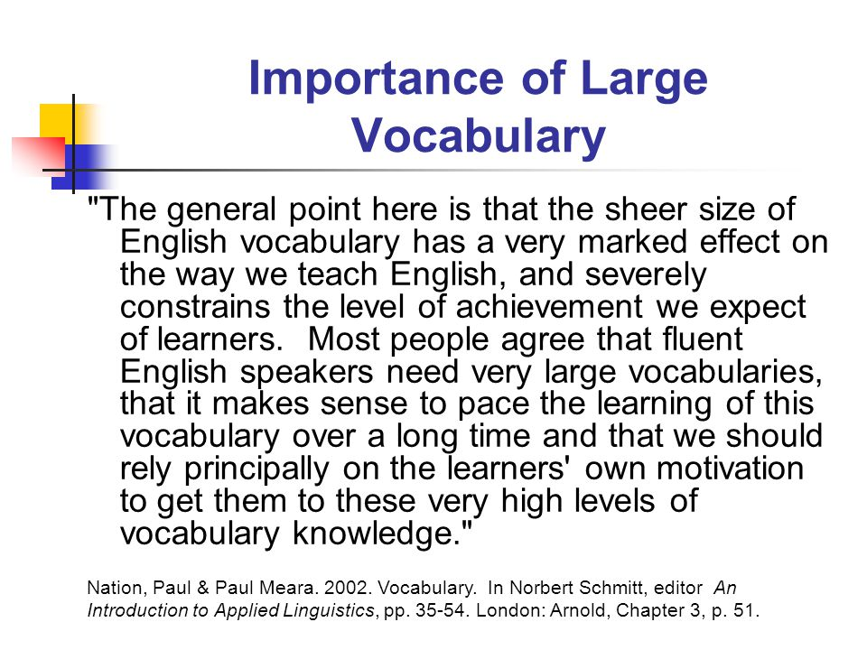 Importance of Large Vocabulary The general point here is that the sheer size of English vocabulary has a very marked effect on the way we teach English, and severely constrains the level of achievement we expect of learners.