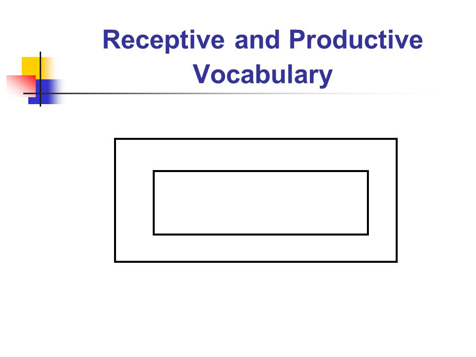 Receptive and Productive Vocabulary