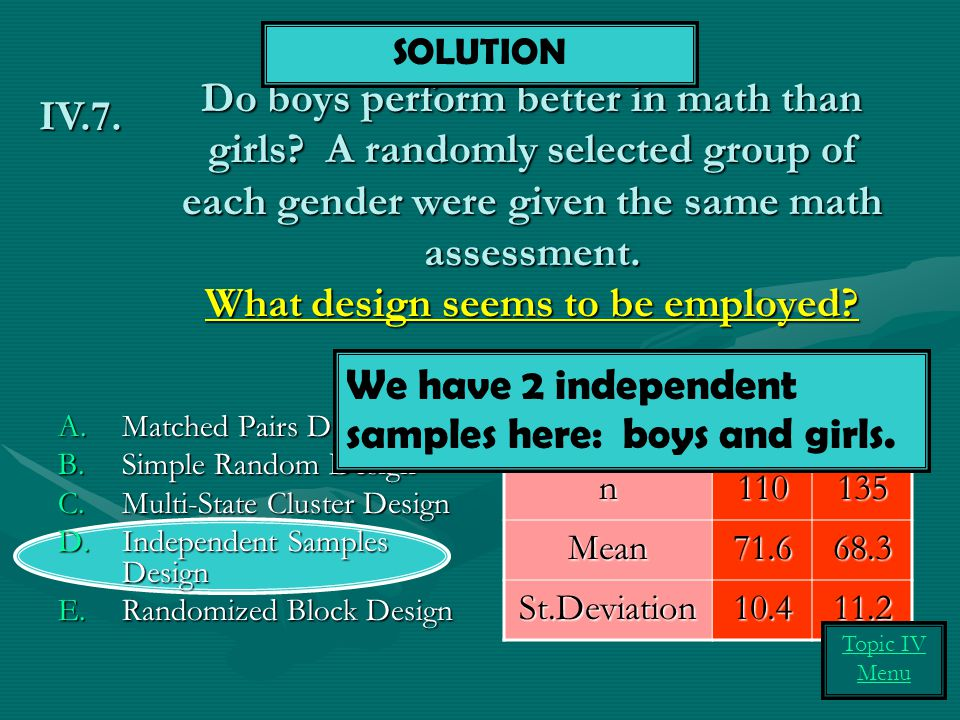Do boys perform better in math than girls? A randomly selected group of each gender were given the same math assessment. What design seems to be emplo