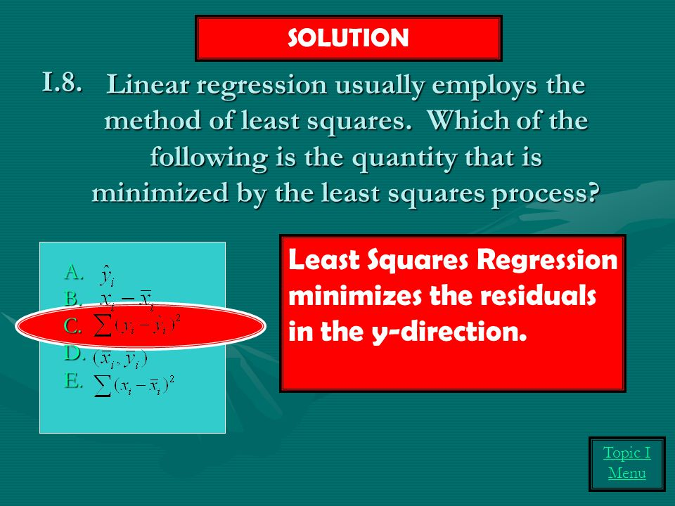 Linear regression usually employs the method of least squares.
