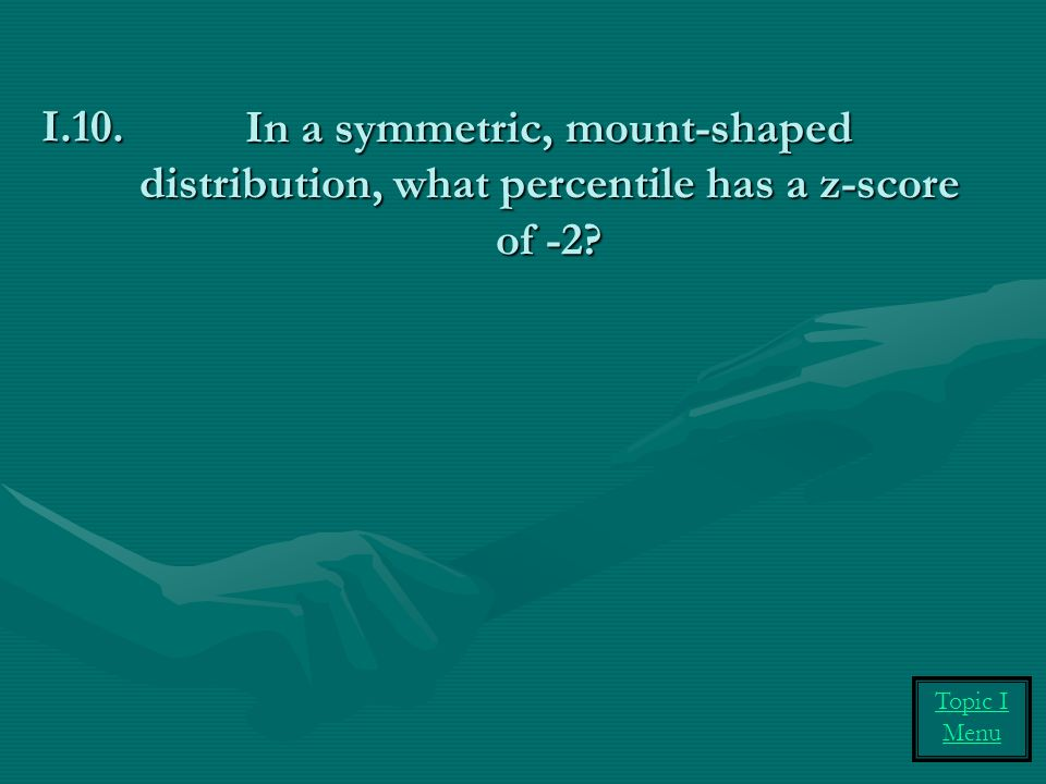 In a symmetric, mount-shaped distribution, what percentile has a z-score of -2? I.10. Topic I Menu