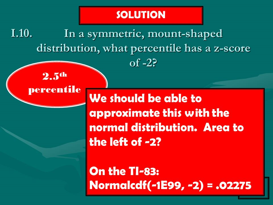 Topic I Menu In a symmetric, mount-shaped distribution, what percentile has a z-score of -2? I.10. SOLUTION We should be able to approximate this with