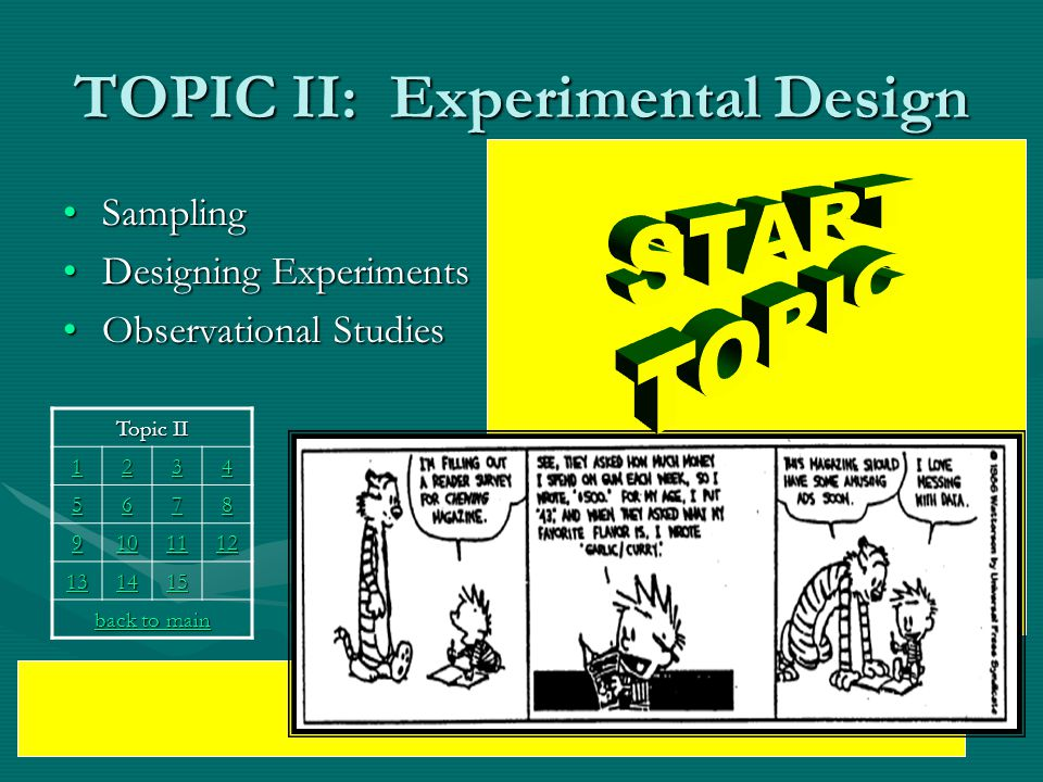 TOPIC II: Experimental Design SamplingSampling Designing ExperimentsDesigning Experiments Observational StudiesObservational Studies Topic II 1111 2222 3333 4444 5555 6666 7777 8888 9999 10 11 12 13 14 15 back to main back to main