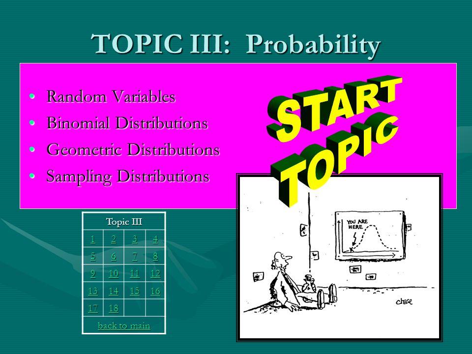 TOPIC III: Probability Random VariablesRandom Variables Binomial DistributionsBinomial Distributions Geometric DistributionsGeometric Distributions Sampling DistributionsSampling Distributions Topic III 1111 2222 3333 4444 5555 6666 7777 8888 9999 10 11 12 13 14 15 16 17 18 back to main back to main