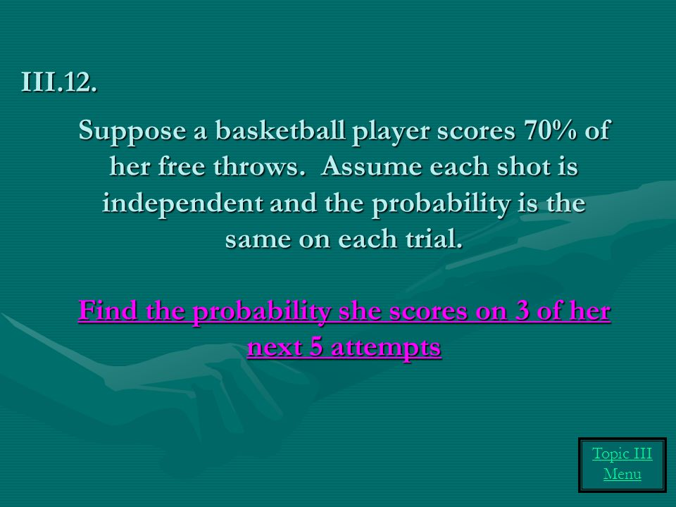 Suppose a basketball player scores 70% of her free throws.