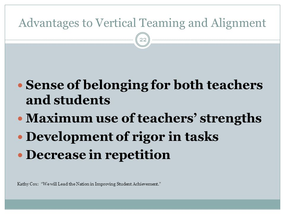 Advantages to Vertical Teaming and Alignment Sense of belonging for both teachers and students Maximum use of teachers' strengths Development of rigor