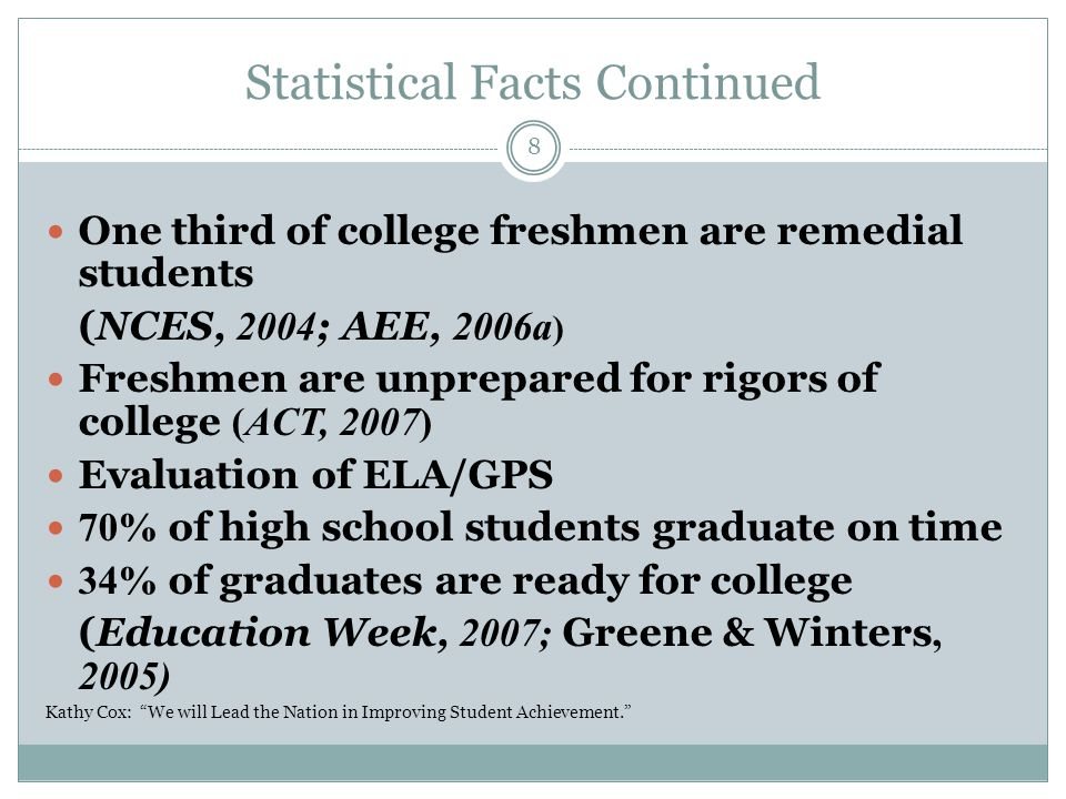 Statistical Facts Continued One third of college freshmen are remedial students (NCES, 2004 ; AEE, 2006a ) Freshmen are unprepared for rigors of colle