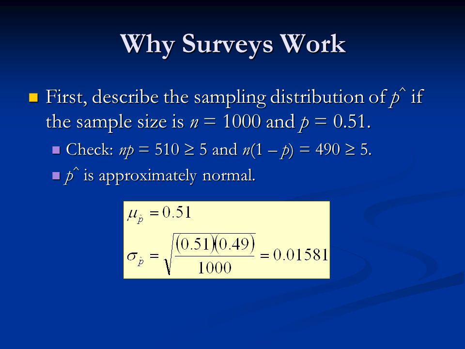 Why Surveys Work First, describe the sampling distribution of p ^ if the sample size is n = 1000 and p = 0.51.