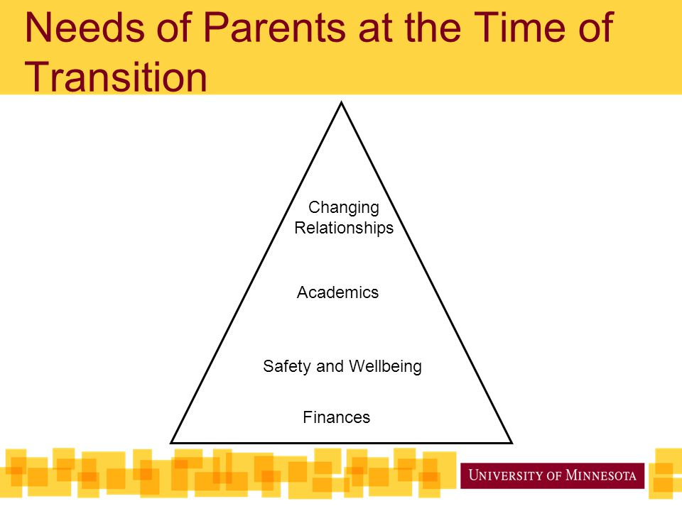 Needs of Parents at the Time of Transition Safety and Wellbeing Finances Academics Changing Relationships