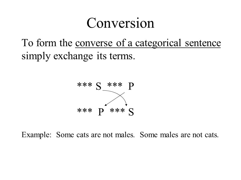 Conversion To form the converse of a categorical sentence simply exchange its terms. *** S *** P *** P *** S Example: Some cats are not males. Some ma