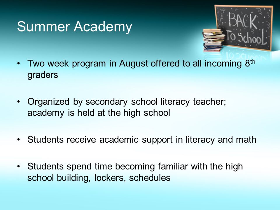 Summer Academy Two week program in August offered to all incoming 8 th graders Organized by secondary school literacy teacher; academy is held at the high school Students receive academic support in literacy and math Students spend time becoming familiar with the high school building, lockers, schedules