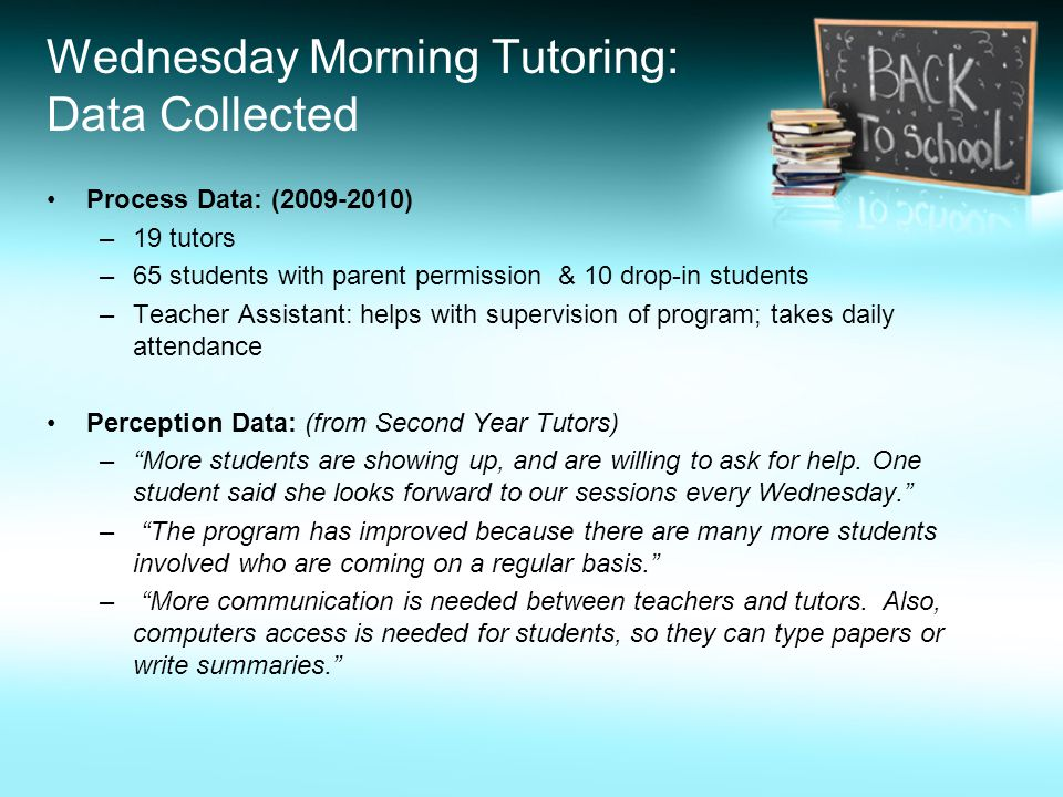 Wednesday Morning Tutoring: Data Collected Process Data: (2009-2010) –19 tutors –65 students with parent permission & 10 drop-in students –Teacher Assistant: helps with supervision of program; takes daily attendance Perception Data: (from Second Year Tutors) – More students are showing up, and are willing to ask for help.