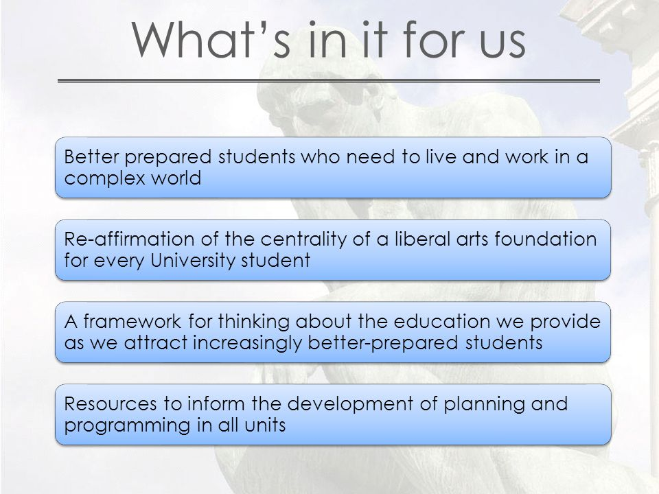 What's in it for us Better prepared students who need to live and work in a complex world Re-affirmation of the centrality of a liberal arts foundation for every University student A framework for thinking about the education we provide as we attract increasingly better-prepared students Resources to inform the development of planning and programming in all units