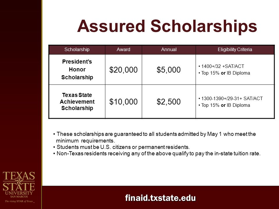 finaid.txstate.edu ScholarshipAwardAnnualEligibility Criteria President's Honor Scholarship $20,000$5,000 1400+/32 +SAT/ACT Top 15% or IB Diploma Texas State Achievement Scholarship $10,000$2,500 1300-1390+/29-31+ SAT/ACT Top 15% or IB Diploma These scholarships are guaranteed to all students admitted by May 1 who meet the minimum requirements.