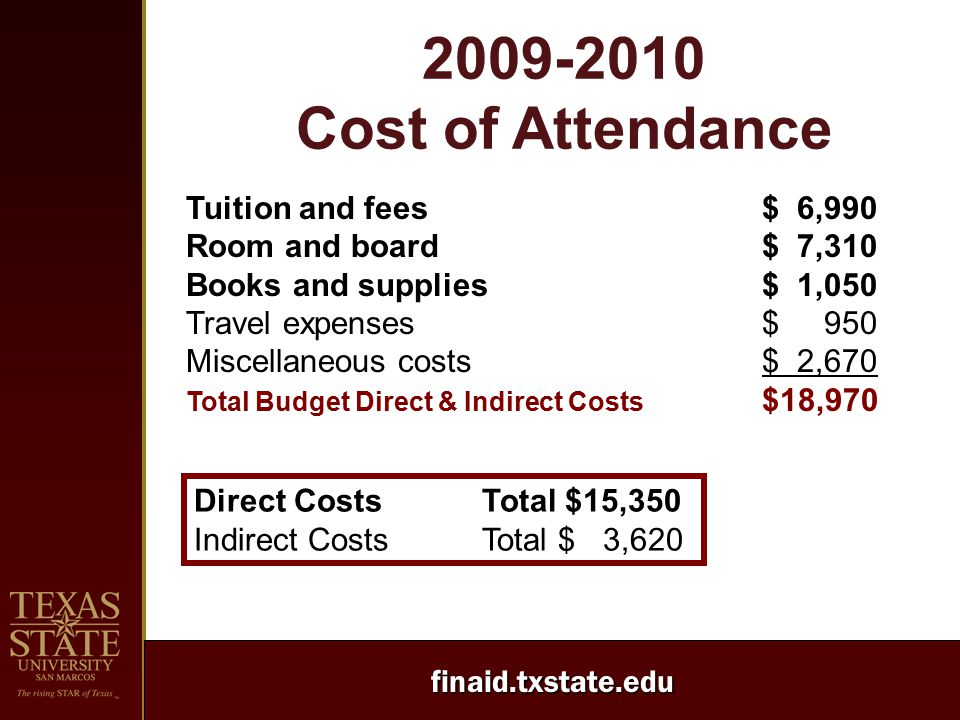 finaid.txstate.edu 2009-2010 Cost of Attendance Tuition and fees$ 6,990 Room and board$ 7,310 Books and supplies$ 1,050 Travel expenses$ 950 Miscellan