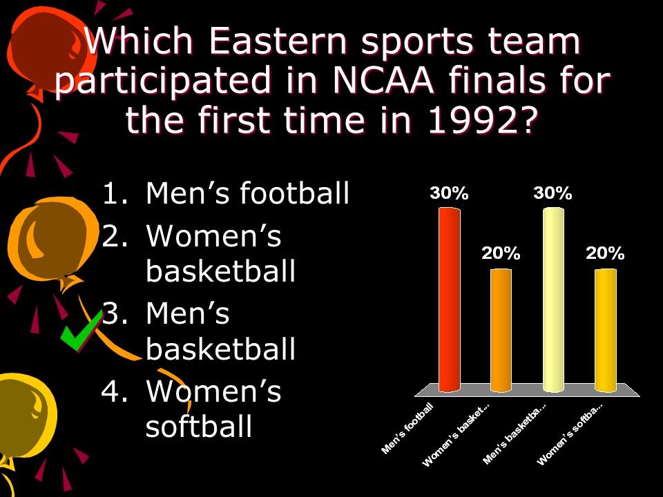 Which Eastern sports team participated in NCAA finals for the first time in 1992.
