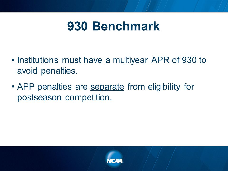 930 Benchmark Institutions must have a multiyear APR of 930 to avoid penalties.