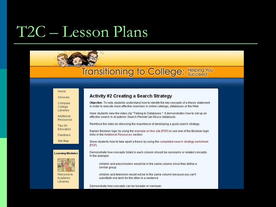 T2C – Lesson Plans