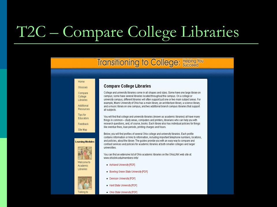 T2C – Compare College Libraries