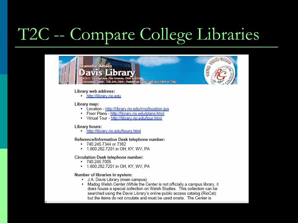 T2C -- Compare College Libraries
